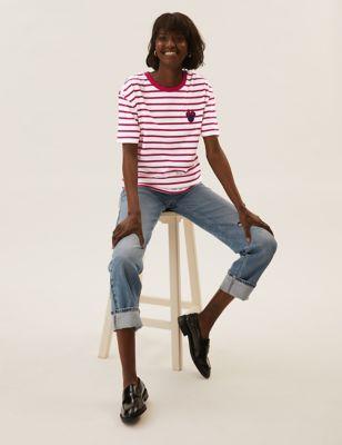 Pure Cotton Striped Minnie Mouse™ T-Shirt