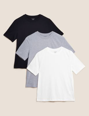 3 Pack Pure Cotton Straight Fit T-Shirts