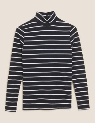 Cotton Striped Funnel Neck Fitted Top