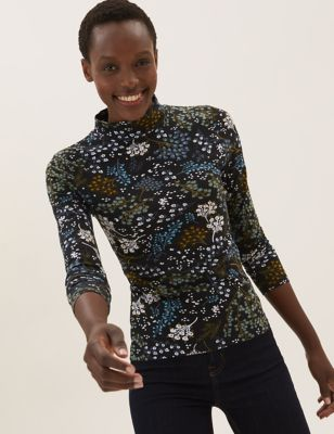 Cotton Printed Funnel Neck Fitted Top