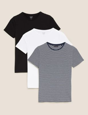 3 Pack Cotton Crew Neck Fitted T-Shirts