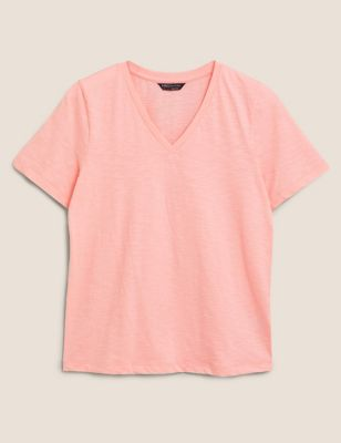 Pure Cotton V-Neck Straight Fit T-Shirt