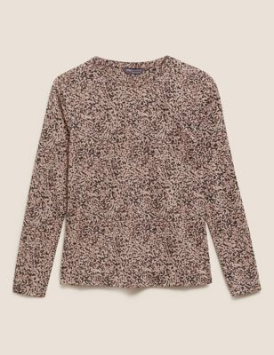 Animal Print Relaxed Long Sleeve Top