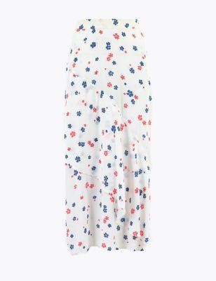 Floral Tiered Hem Midi Skater Skirt