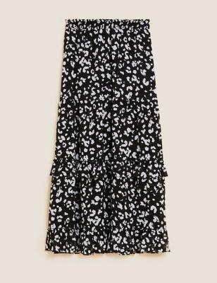 Animal Print Ruffle Maxi Tiered Skirt