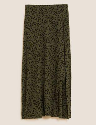 Printed Midi Wrap Skirt