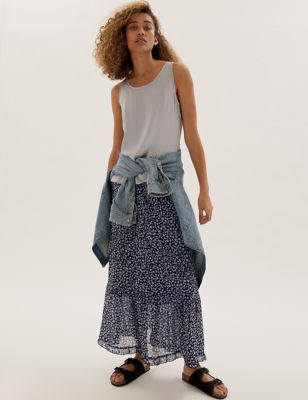 Floral Maxi Tiered Skirt