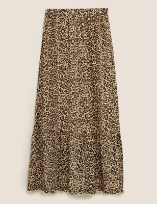 Animal Print Maxi Tiered Skirt