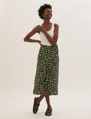 Floral Midaxi Wrap Skirt