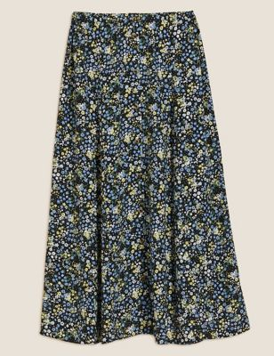 Floral Button Front Midaxi A-Line Skirt