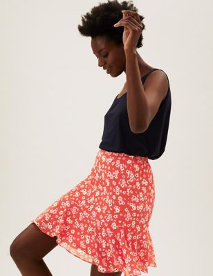 Floral Mini Tiered Skirt
