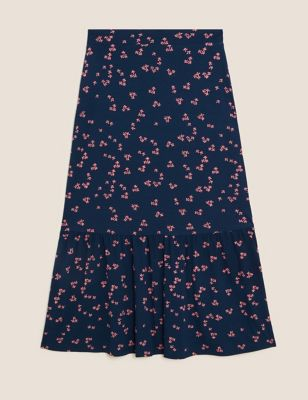 Jersey Floral Midaxi Tiered Skirt
