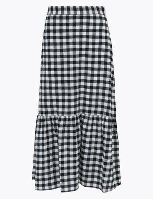 Pure Cotton Checked Midi Skater Skirt