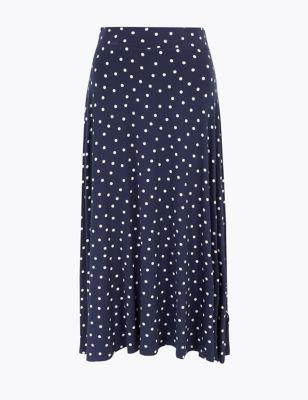 Jersey Polka Dot Midi Skater Skirt