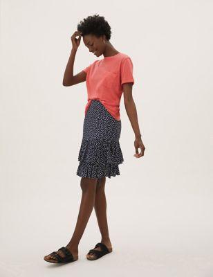Polka Dot Ruffle Mini Tiered Skirt