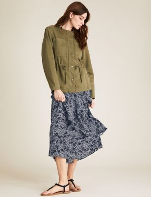 Floral Ruffle Midi Tiered Skirt