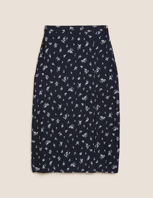 Floral Split Front Midi Slip Skirt