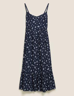 Ditsy Floral V-Neck Midi Tiered Dress
