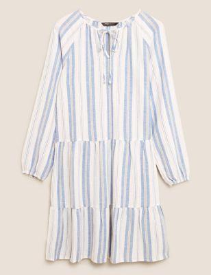 Cotton Striped Tie Neck Mini Tiered Dress