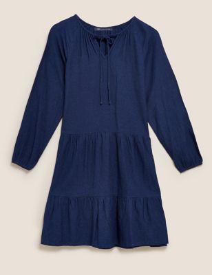 Cotton Tie Neck Mini Tiered Dress