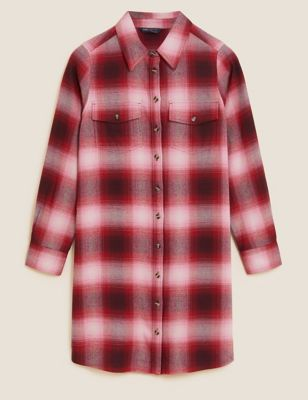 Petite Checked Button Through Mini Shirt Dress