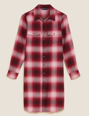 Checked Collared Knee Length Shirt Dress