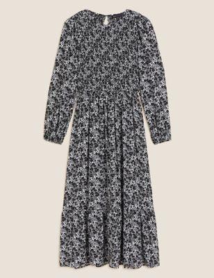 Floral Shirred Midi Tiered Dress