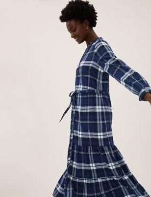 Checked High Neck Midi Shirt Dress