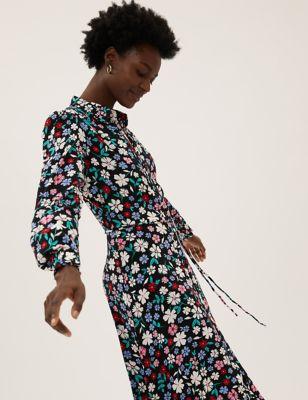 Floral Button Through Midaxi Shirt Dress