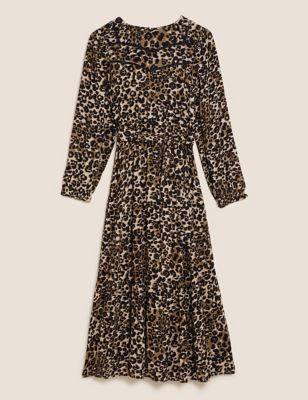 Animal Print Lace Insert Midi Waisted Dress