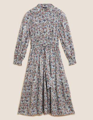 Cotton Ditsy Floral Pintuck Midi Dress