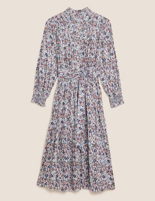 Cotton Floral High Neck Midi Tiered Dress