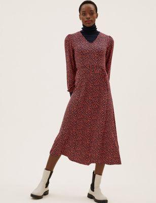 Jersey Printed Midi Tea Dress