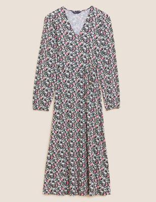Jersey Floral Midi Tea Dress