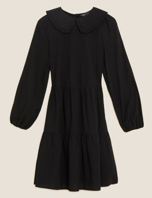 Cotton Textured Collared Mini Tiered Dress