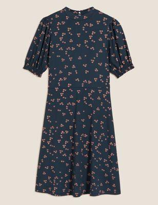 Jersey Floral Knee Length Skater Dress