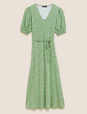 Jersey Printed V-Neck Midi Tea Dress