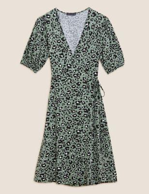 Animal Print V-Neck Knee Length Wrap Dress