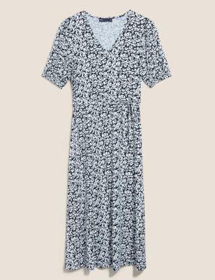 Jersey Floral V-Neck Midi Tea Dress