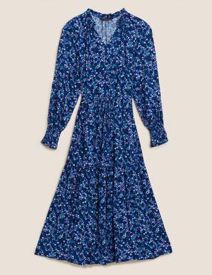 Floral V-Neck Midi Relaxed Dress