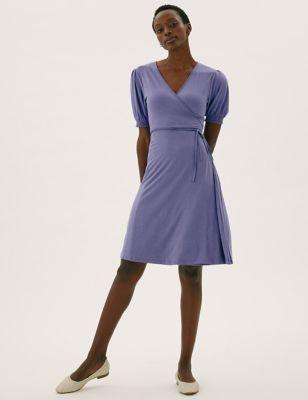 Jersey V-Neck Knee Length Wrap Dress