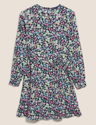 Floral Tie Detail Mini Waisted Dress
