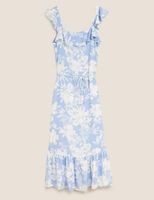 Floral Square Neck Midaxi Tiered Dress