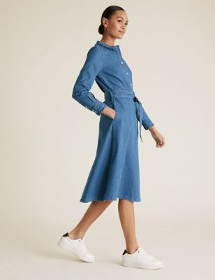 Denim Belted Midi Shirt Dress
