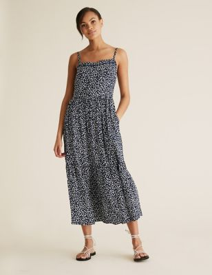 Printed Midaxi Tiered Dress