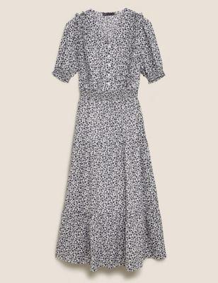 Floral V-Neck Midaxi Waisted Dress