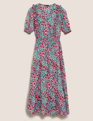 Floral Frill Detail Midaxi Waisted Dress