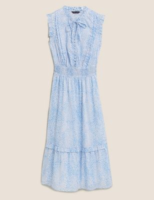 Pure Cotton Printed Midaxi Waisted Dress