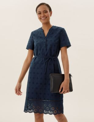Pure Cotton Broderie V-Neck Shift Dress