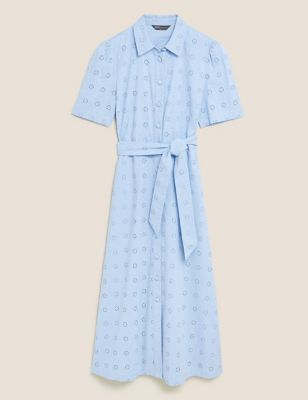 Pure Cotton Broderie Midi Shirt Dress
